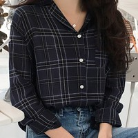 Opened Plaid Pocket Shirt