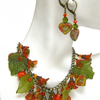 Orange and Green Fall Bracelet Handcrafted Czech Bead Earrings Lucite Crystal