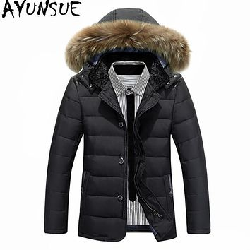 AYUNSUE 2017 Men's White Duck Down Jacket Hooded Fur Collar Parkas Hombre Invierno Winter Men Coat Thick Warm Man Jackets WXF241