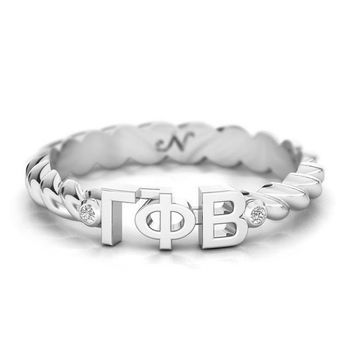Gamma Phi Beta Silver Pavé Twist Letter Ring, available in any sorority, other metals