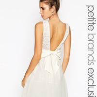 Little Mistress Petite Prom Dress With Plunge Back And Bow