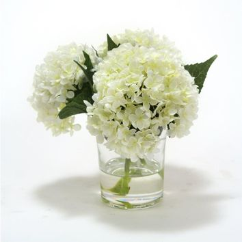 White Hydrangeas In Cylinder Glass Vase