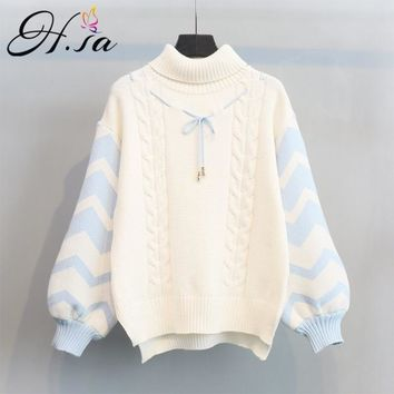 H.SA 2017 Winter Spring New Arrivals Women Turtleneck Sweater Jumpers Puff Sleeve Pullovers ugly christmas sweater robe pull