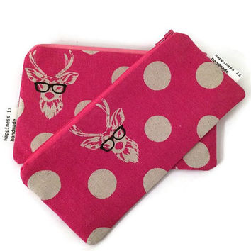 Deer Zipper Pouch - Stag With Glasses - Pink Wallet - Echino Fabric Pouch - Cute Cosmetic Bag - Gift Set - Matching Pouches - Polka Dots