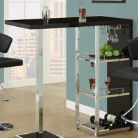 "Glossy Black / Chrome Metal 48""L Bar Table"