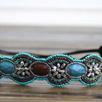 Bohemian Floral Beaded headband boho beaded Aqua head piece Turquoise and brown seed beaded elastic headband non slip stone Beaded