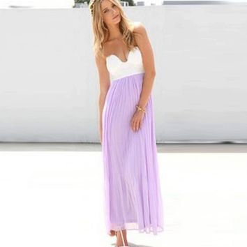 Fashion Sexy strapless white and Purple gauze splicing dress