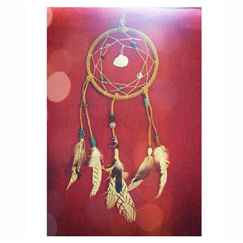 "Boho Seashell Dreamcatcher suede with natural pheasant feathers, assorted glass beads & pale web 6""in diameter dream catcher hand made #001"