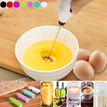 Fashion Drinks Milk Frother Foamer Whisk Mixer Stirrer Egg Beater Electric Mini Handle Cooking Tools @LS