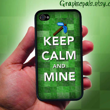 Funny Keep Calm and Mine Inspired Minecraft case for iphone 4 & 4s Black and White style cases