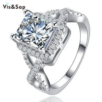 Charming rings for women wedding bands White gold plated 4ct clear big cz diamond engagement El anillo luxury gifts bague VSR136
