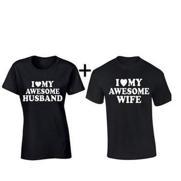 Valentines Day Gift I Love My Awesome Husband Wife Matching Couple Tee Shirts Best Lovers Mr Mrs Summer Cotton Top one Set 2 pcs