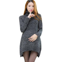 plus size loose soft warm maternity sweater autumn and winter medium-long pullover clothes for pregnant women