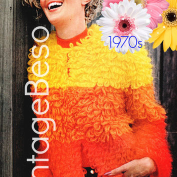 Jacket Crochet Pattern 70s Super Fun Coat Crochet Pattern Teddy Bear Chubby Retro Ladies Jacket Sexy Faux Fur Instant Download PDF Pattern