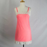 Vintage 70s Sheer Hot Pink Nightie Negligee Nightgown Teeny Tiny Just Like the Vintage Naughty Pin-up Girl Cake Toppers