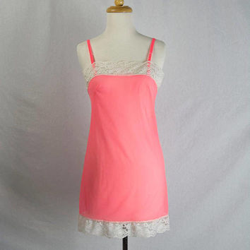 5b0936fc63a Vintage 70s Sheer Hot Pink Nightie Negligee Nightgown Teeny Tiny