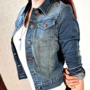 Newest  Women's Fashion Casual Long Sleeve Denim Jacket Jeans Short Coat Jacket