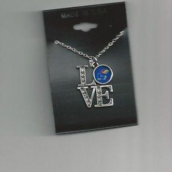 KU Kansas Jayhawks Fashion Necklace with Crystal LOVE Pendant USA Made New