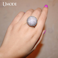 UMODE Elegant Lindo Aneis Full Paved Bud Round Shaped Vintage Ring White Gold Color Cubic Zirconia for Women Jewelry UR0208