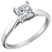 Princess Cut Solitaire Diamond Engagement Ring 1/2 Carat (ctw) in 14K White Gold