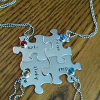 Hand Stamped Best Friends Puzzle Piece Necklaces Family Bridal Party Sports Team Gifts Bridesmaids - Set of 4