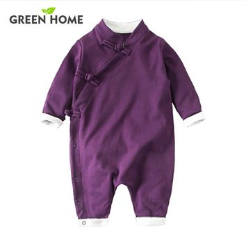 Chinese Retro Baby Rompers Ropa Bebe Cotton Newborn Babies Infant 0-24M Baby Girls Boy Clothes Jumpsuit Romper Baby Clothing