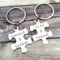 Husband Wife, Father Mother, Couples Keychains, , Anniversary Gift