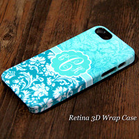 Vintage Damask Custom Monogram 3D-Wrap iPhone 5S Case iPhone 5 Case iPhone 5C Case iPhone 4S Case iPhone 4 Case