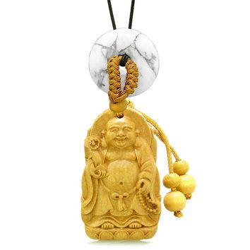 Laughing Buddha Blooming Lotus Car Charm Home Decor White Howlite Coin Donut Protection Amulet