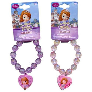 Disney Princess Sofia the First Faceted Beaded Bracelet with Heart Charm - Assorted Styles