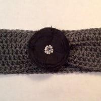 Crochet Headband with a Taffeta Flower, Women's Hairband, Crochet Headwrap, Fall, Winter Headband -  READY TO SHIP!