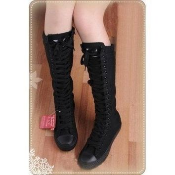 Women Shoes Punk Black Canvas Boot Lace Up Sneakers Knee High = 1946179396