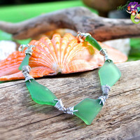 Sea Glass Bracelet from Hawaii, Hawaiian jewelry with green seaglass for beach brides by Mermaid Tears