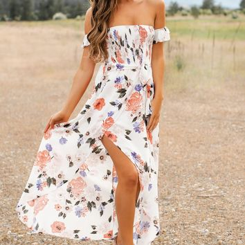 Vacation Spot Floral Maxi Dress (Ivory)