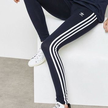 adidas Originals Three Stripe Legging In Navy Blue