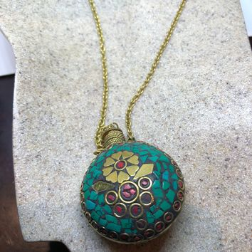perfume oil bronze bottle handmade vintage mosaic gemstone pendant necklace