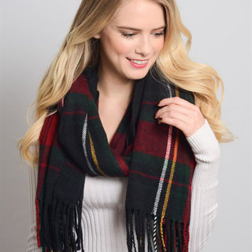 Plaid Tassel Scarf-Navy