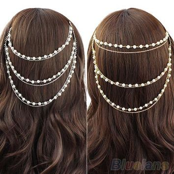 Celebrity Women's Boho Pearl Headband Tassel Headpiece Hair Chain Hair Comb Jewelry 1Q37