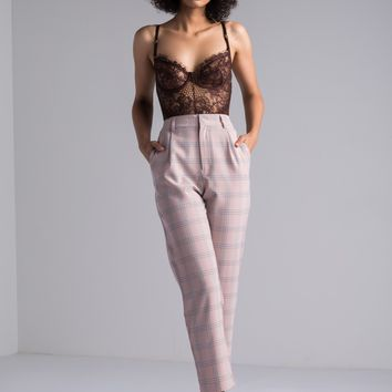 AKIRA High Rise Plaid Print Cigarette Trouser Pants in Pink