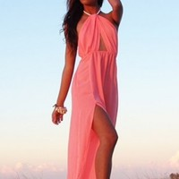 LOST IN ALILA Isla Twist Maxi Dress in Coral