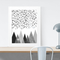 Raining over the Mountains Geometric Abstract Print Wall Art Printable Art Digital Download scalable to 50x70 cm