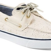 Sperry Top-Sider Bahama Eyelet 2-Eye Boat Shoe IvoryEyeletCanvas, Size 10M  Women's Shoes