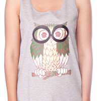 OWL Shirt Glasses Nerd Horned Owl Top Women Tank Top Grey Shirt Tunic Top Vest Sleeveless Women T-Shirt Size S M