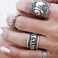 Vintage Punk Leaf Ring Set Carved Antique Silver Elephant Totem Lucky Rings Jewelry 4PCS
