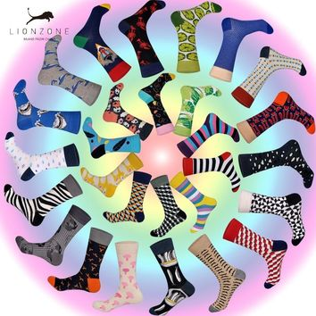2018 New Arrived Brand Men Socks Funny 28 Colors British Style Designer Happy Socks Cotton Long Chaussettes Homme Fantaisie