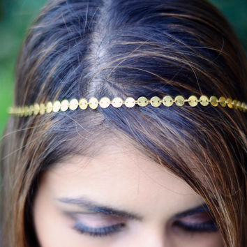 THE FARRAH Gold Small Sequins Coins Hair Chain Hair Jewelry Sexy Head Boho Festival Prom Wedding Headpiece head chain Valentines Coachella