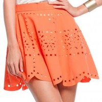 Rocker Chic Laser Cut Skater Skirt in Salmon | Sincerely Sweet Boutique