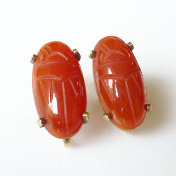 WRE Scarab Earrings 12K Gold Filled Carved Carnelian Gemstone Vintage Jewelry