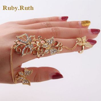 Flower Butterfly Full Finger Rings for Women Gold Chian Link Armor crystal Ring