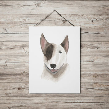 Cute nursery decor Bull terrier poster Watercolor dog print ACW98